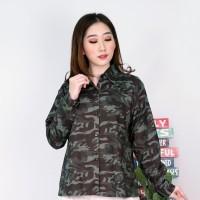 armi doreng loreng kemeja shirt atasan baju wanita blouse bluss army