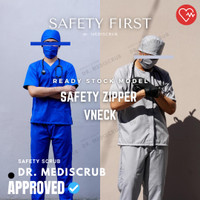 Baju Jaga READY STOCK PREMIUM, Baju OKA Dokter, Bidan dan Perawat - NAVY BLUE, XS