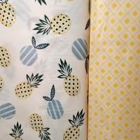 kain bahan sprei meteran katun catra motif nanas kuning