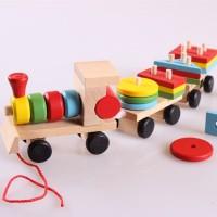 Balok Kereta Kayu Mainan Anak - Original Import