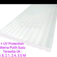 Fiber gelombang + UV pro 2.1 M warna susu / Atap fiber transparan pvc