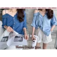 sabrina blouse baju atasan wanita cut out off shoulder katun denim