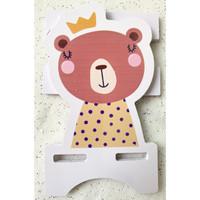 Tatakan handphone HP kayu karakter - Sandaran HP - Holder handphone - Bear