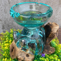 ASBAK KACA ROKOK UNIK TEMPAT LILIN HIASAN AROMATERAPI GLASS ON WOOD