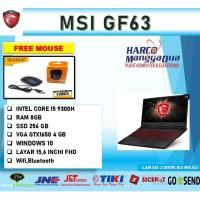 LAPTOP MSI GF63 i5 9300 RAM 8GB 256ssd GTX1650Ti 4GB W10 15.6FHD BLK