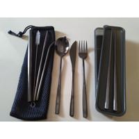 Premium Cutlery Set 304 Pisau Steak Sujeo Komplit BOX + Sarung - Hitam