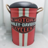 AGSM Kursi Tong / bangku / sofa Kaleng Tin Stool Motif Harley Red