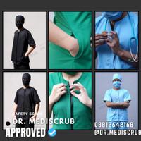 Baju Jaga READY STOCK PREMIUM Baju OKA Dokter,Bidan dan Perawat ZIPPER - Hitam, XS