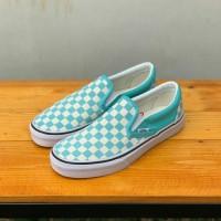 Sepatu Vans Slip On Checkerboard - Biru Muda Irishmarket21