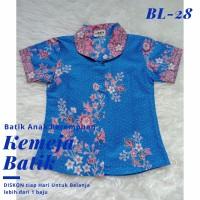 Kemeja Batik Anak Perempuan Biru Katun Berkualitas Baju Usia 3-14 tahu