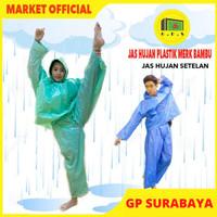 Jas Hujan Plastik LDPE jaket Celana Setelan Bambu Tebal Murah