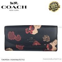 Coach Long Wallet Slim Envelope Wallet Halftone Floral Print Original