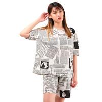 SETELAN Baju & Celana Pendek Kaos Wanita Motif Koran Size L XXL- FIOTA