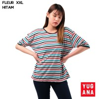 Baju Kaos Wanita Salur Garis Cewek Lengan Pendek Size L XXL - FLEUR