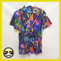 Baju Kemeja Motif Printing Hawai Pria Wanita Import Abstrak Face 02