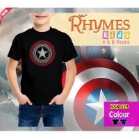 Kaos Anak Laki-Laki kids Captain America Logo Superhero Rhymes - Hitam, 3-4 tahun