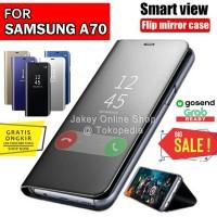 Flip cover stand sview case Samsung A70 casing auto lock off mirror