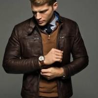 jaket kulit pria asli domba super warna coklat tua jaket kulit motor