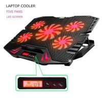 NAJU ICE FAN Cooling Pad Laptop 5 asus ROG Kipas Merah dengan LCD
