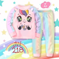 Baju Tidur Piyama Anak Perempuan JW 218 Unicorn Pink Rainbow LED