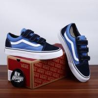 Sepatu Vans Old Skool V Velcro Navy Blue Biru White Putih Import