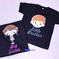 GRATIS NAMA Kaos / Baju couple kakak adik LITTLE BROTHER-BIG SISTER