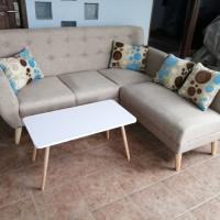 sofa l minimalis retro + meja