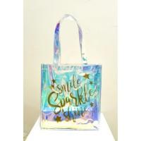 Tas PVC Pelangi Transparan Tebal Fashion Bag Korea Style