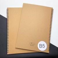 [Tulis.Id] Simple Basic Kraft Spiral Notebook B5 Dotted / Grid / Blank