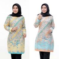 Tunik Batik Sogan Terbaru Batik Atasan Wanita Terlaris Baju Muslim - Hijau, M