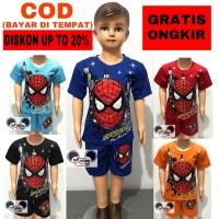 Baju Setelan Anak Laki-Laki Mata Nyala Karakter Spiderman Lamp Led