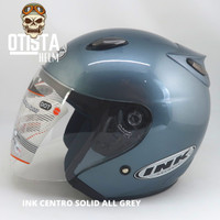 Helm Half Face Ink Centro Solid All Grey Abu Abu Polos Gloss Glossy - M