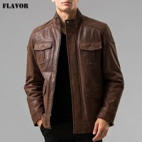 jaket kulit pria warna coklat tua model parka kualitas domba super