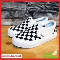 Sepatu anak vans slop catur Vans Slip On Checkerboard Cream size 17 35