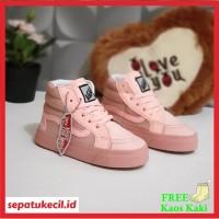 Sepatu Boots Anak Perempuan Vans SK8 Perekat Pink Size 21 35