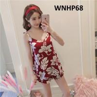 Baju Tidur Wanita Tanktop Big Flower Red