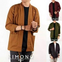 Kimono WOLV Outer Pria Loose Casual Lengan Panjang SIZE M L XL