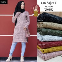 baju atasan eka tunik rajut muslim wanita terbaru simple casual trendy