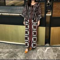setelan batik wanita celana kulot atasan blazer blouse tenun AT001