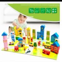 Mainan edukasi anak balok kayu susun URBAN TRANSPORT 62pcs