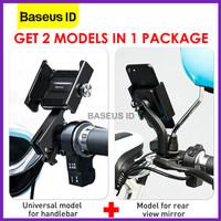Baseus Knight Phone Holder Handphone HP Setang Sepeda Motor Kaca Spion