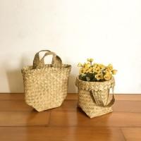 Size XS 15cm Bakul Purun , Cover Pot Anyam Tanaman Kecil, Pot Mini