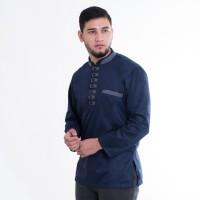 Baju Koko Akhtar Kemeja muslim Pria warna biru navy