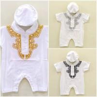 Baju Jumper Koko Muslim Anak Bayi Cowok / Laki-Laki + Peci (0-6 bln)