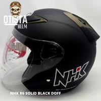 Helm Half Face Nhk R6 Solid Black Matte Hitam Doff Dof Polos L - XXL
