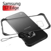 Samsung S7 Edge Case Frameless Transparant Stand Ring Casing - Merah