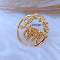 Ring hijab bros custom nama lapis emas aksesoris jilbab mewah premium