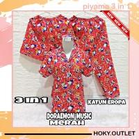 Hoky.Outlet Piyama 3 in 1 Baju Tidur Motif Dora Musik/Fit to XL - Merah, one size