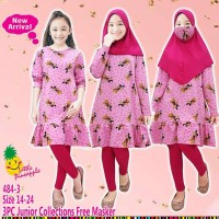 (9-14 tahun) Baju Muslim Anak Perempuan Little Pineapple Mickey Pink