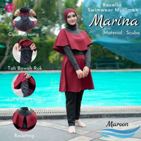Baju Renang Wanita Muslim, Swimwear Syari Wanita, Baju Renang Muslimah - Maroon, S-M